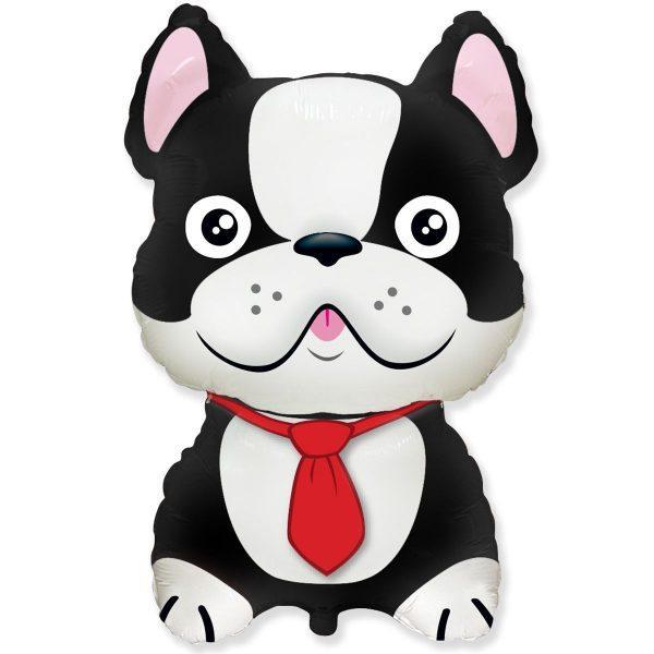 Фольгована кулька велика фігура Бульдог собака чорний 47х72см Flexmetal