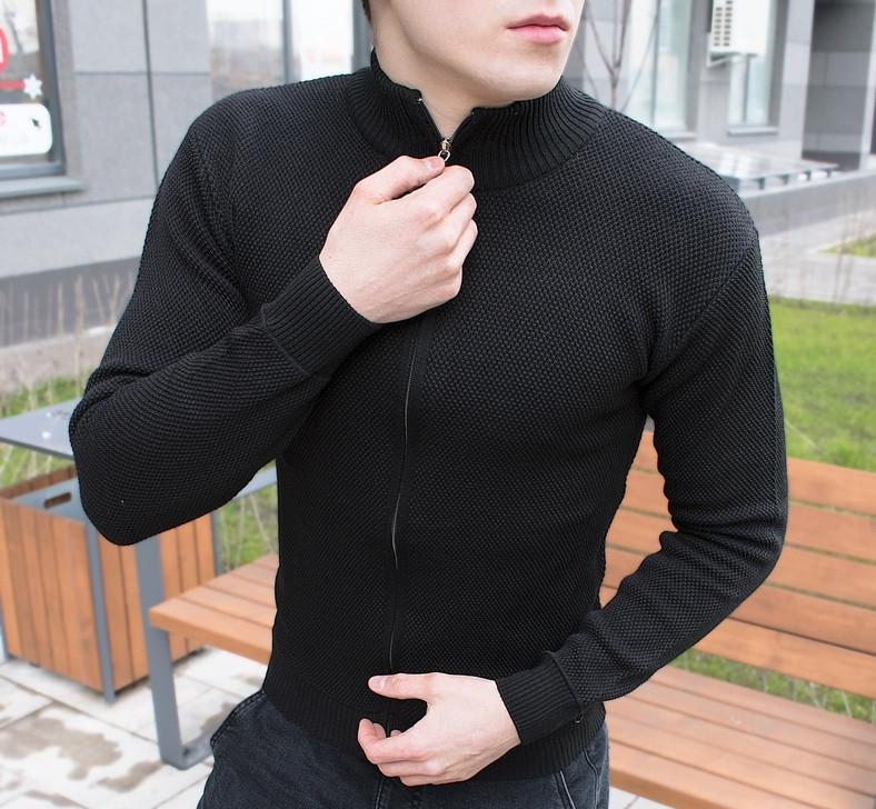 Кофта на молнии мужская черная. Турция. Живое фото (мужская кофта весенняя)