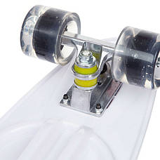Скейтборд круизер SK-885-2 (PU светящ, р-р 60x17см, черный-белый), фото 3