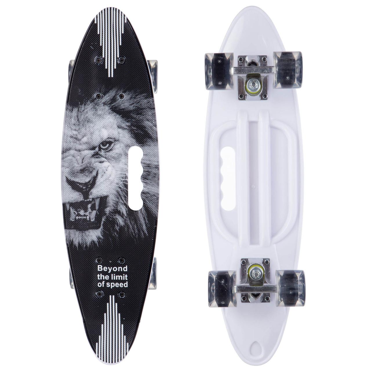 Скейтборд круизер SK-885-2 (PU светящ, р-р 60x17см, черный-белый)
