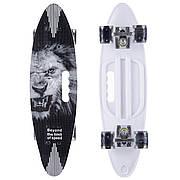 Скейтборд круизер пластиковый PC дека с отверстием и светящимися колесами SK-885-2 (черный-белый)