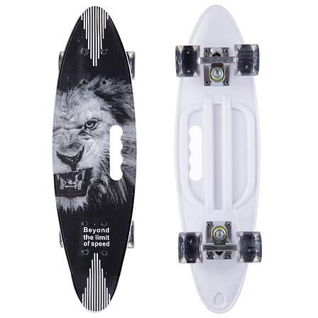 Скейтборд круизер SK-885-2 (PU светящ, р-р 60x17см, черный-белый), фото 2