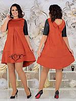 Женское стильное платье батал с 48 по 54 рр замш + экокожа, фото 1