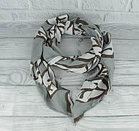 Итальянский шарф Girandola 0001-139 серый,листья, коттон 80%, шелк 20%, фото 1