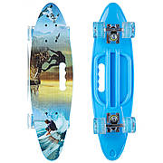 Скейтборд круизер пластиковый PC дека с отверстием и светящимися колесами SK-885-5 (синий)