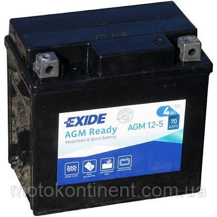 Аккумулятор для мотоцикла гелевый EXIDE SLA12-5 = AGM12-5  4Ah 113x70x105, фото 2