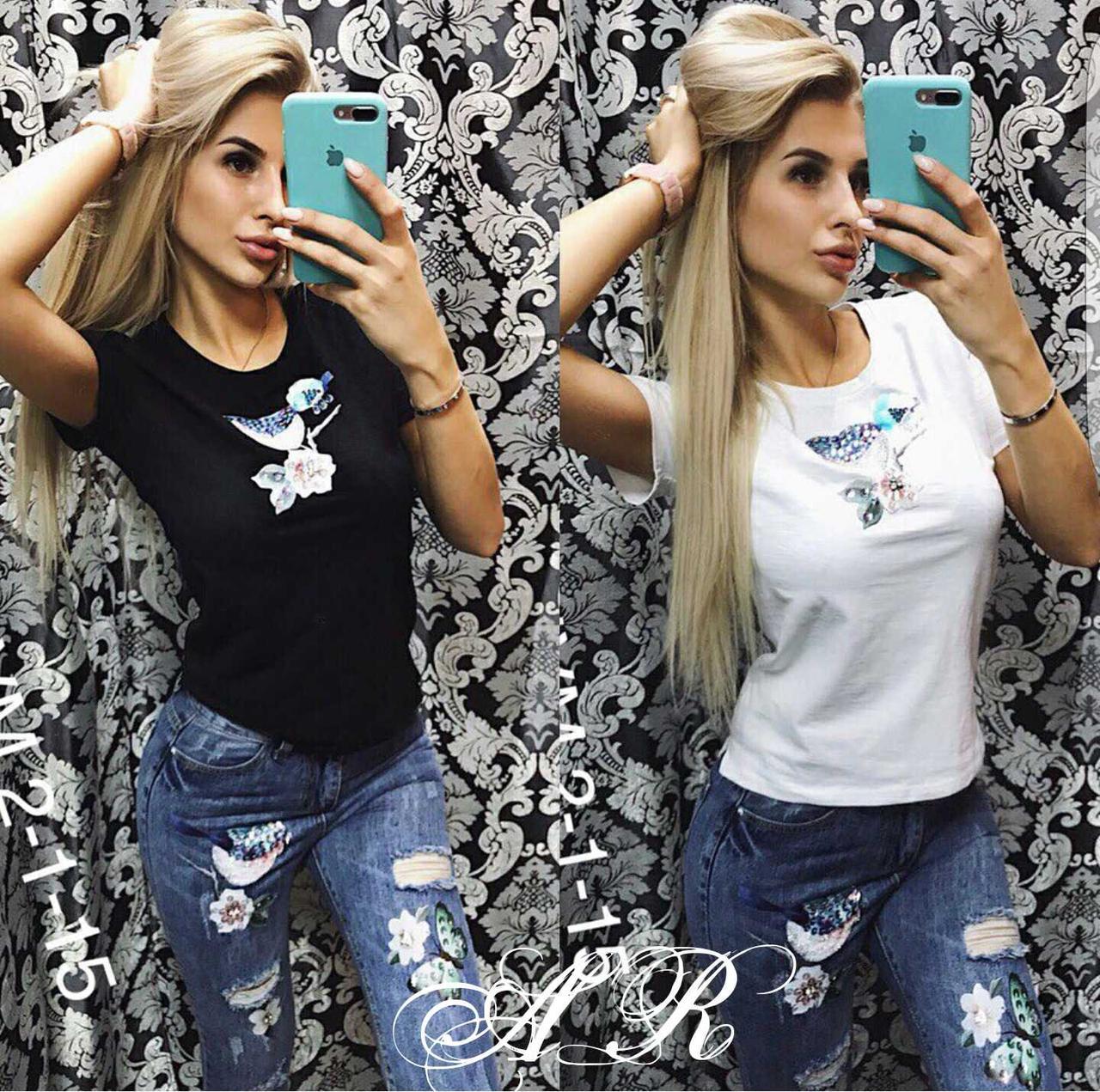 Костюм джинсы и футболка с нашивкой птичка