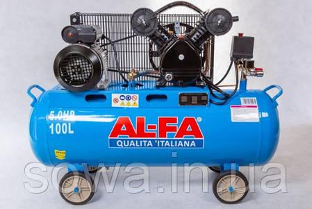 ✔️ Компрессор AL-FA ALC-100-2   /  100L  (2-x поршневый масляный блок ), фото 2