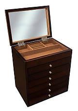 Деревянная шкатулка-органайзер Wooden Collection для украшений, коричневая, 7 уровней, фото 2