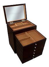 Деревянная шкатулка-органайзер Wooden Collection для украшений, коричневая, 7 уровней, фото 3