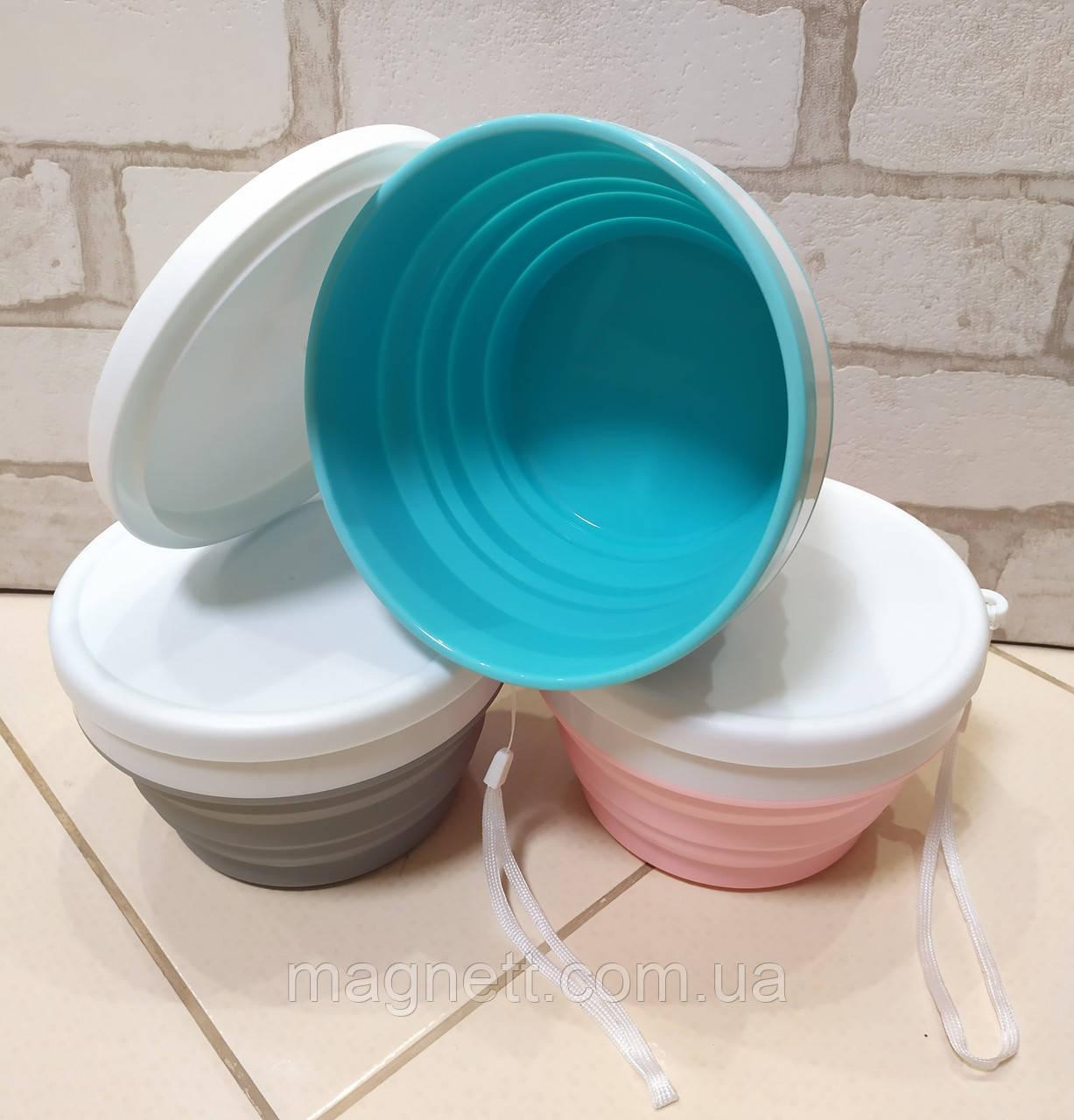Ланч бокс круглий силіконовий харчової складаний контейнер для їжі 500 мл (3 кольори)