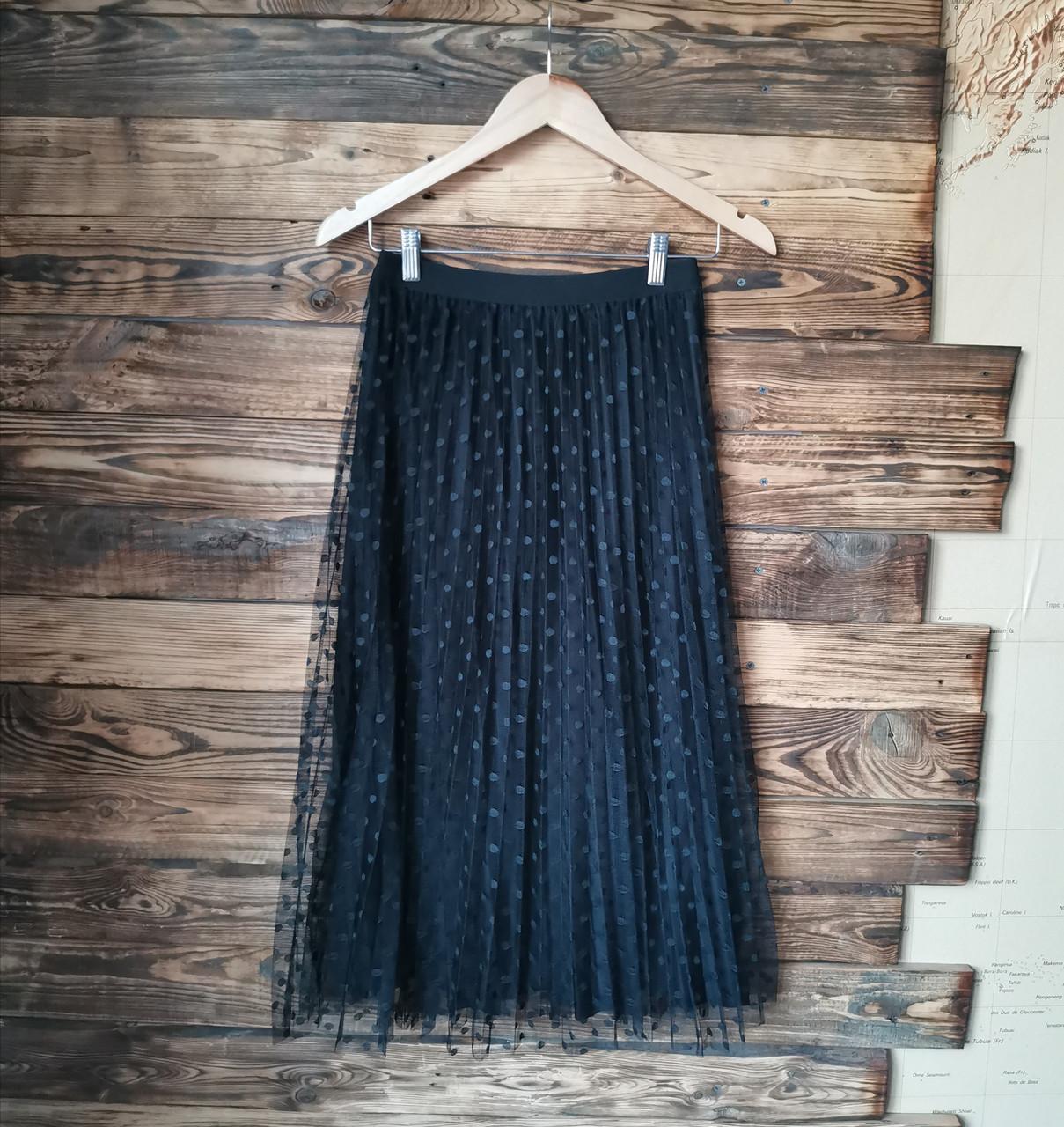 Женская юбка плисе с фатином черная