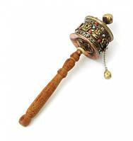 Молитвенный барабан на ручке медь + латунь