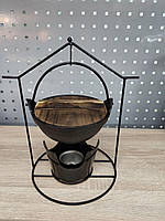 Садж чугунный подвесной с деревянной крышкой