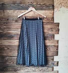 Женская юбка плисе с фатином серая