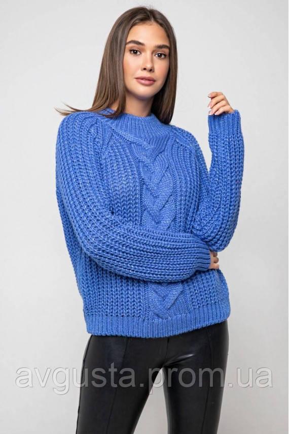 Вязаный свитер «Злата» с люрексом - васильковый
