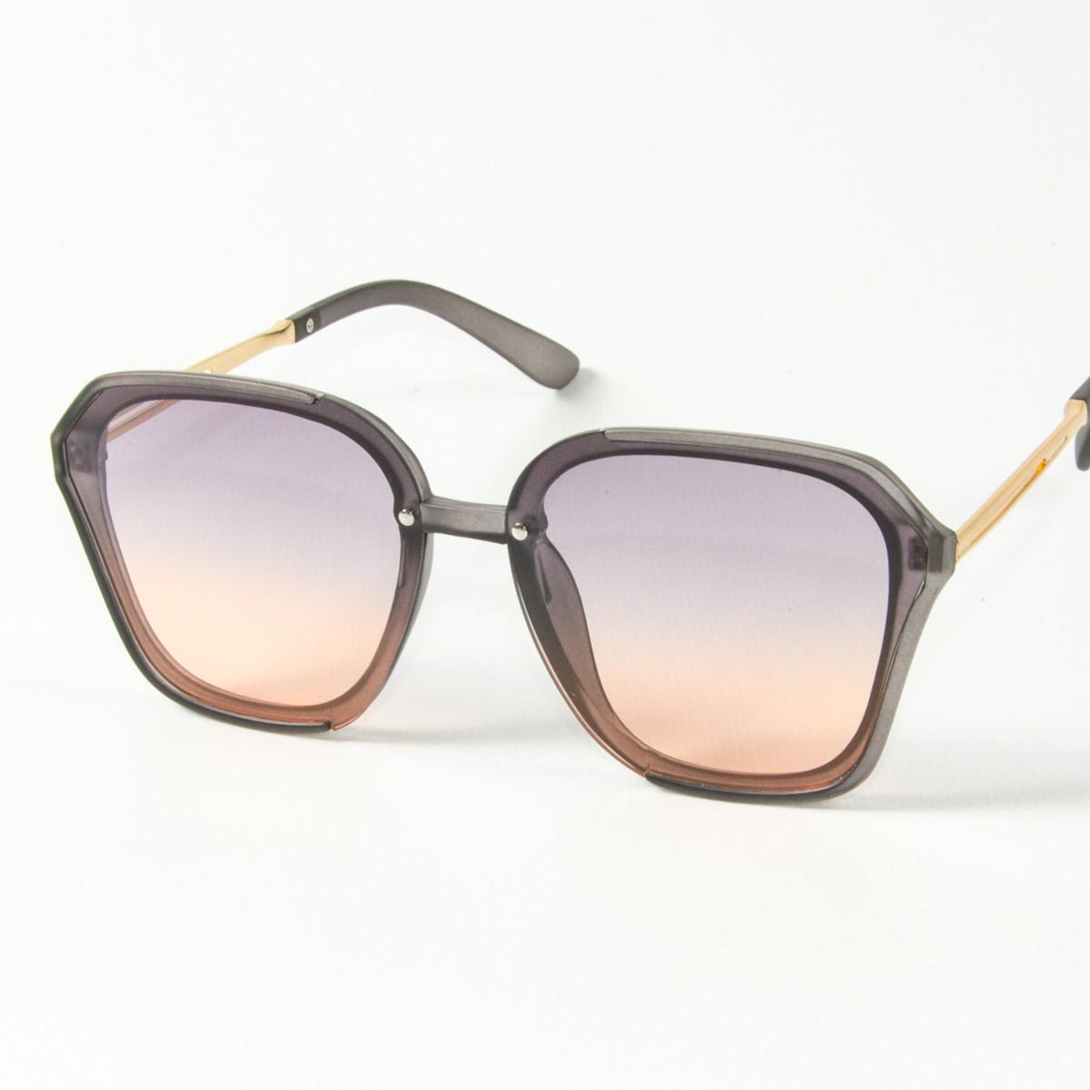 Оптом женские солнцезащитные квадратные полупрозрачные очки (арт. 2341/6) сиренево-оранжевые