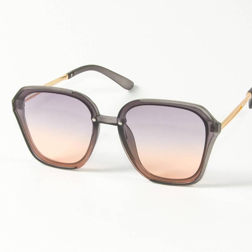 Оптом женские солнцезащитные квадратные полупрозрачные очки (арт. 2341/6) сиренево-оранжевые, фото 2