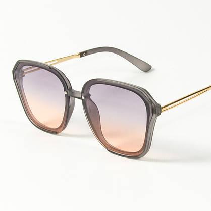 Оптом женские солнцезащитные квадратные полупрозрачные очки (арт. 2341/6) сиренево-оранжевые, фото 3