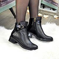 Ботинки женские на маленьком каблуке. Натуральная кожа и лаковая кожа
