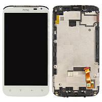 Дисплей + touchscreen (сенсор) для HTC Sensation XL X315e G21, средняя часть, белый, оригинал