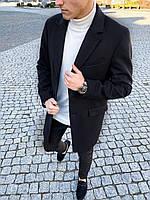 Мужское черное пальто длинное