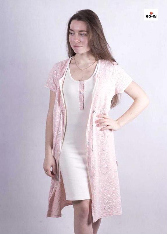 Женский комплект халат на молнии с ночной р.42-54