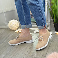 Туфли женские замшевые на шнуровке, низкий ход. Цвет пудра, фото 1
