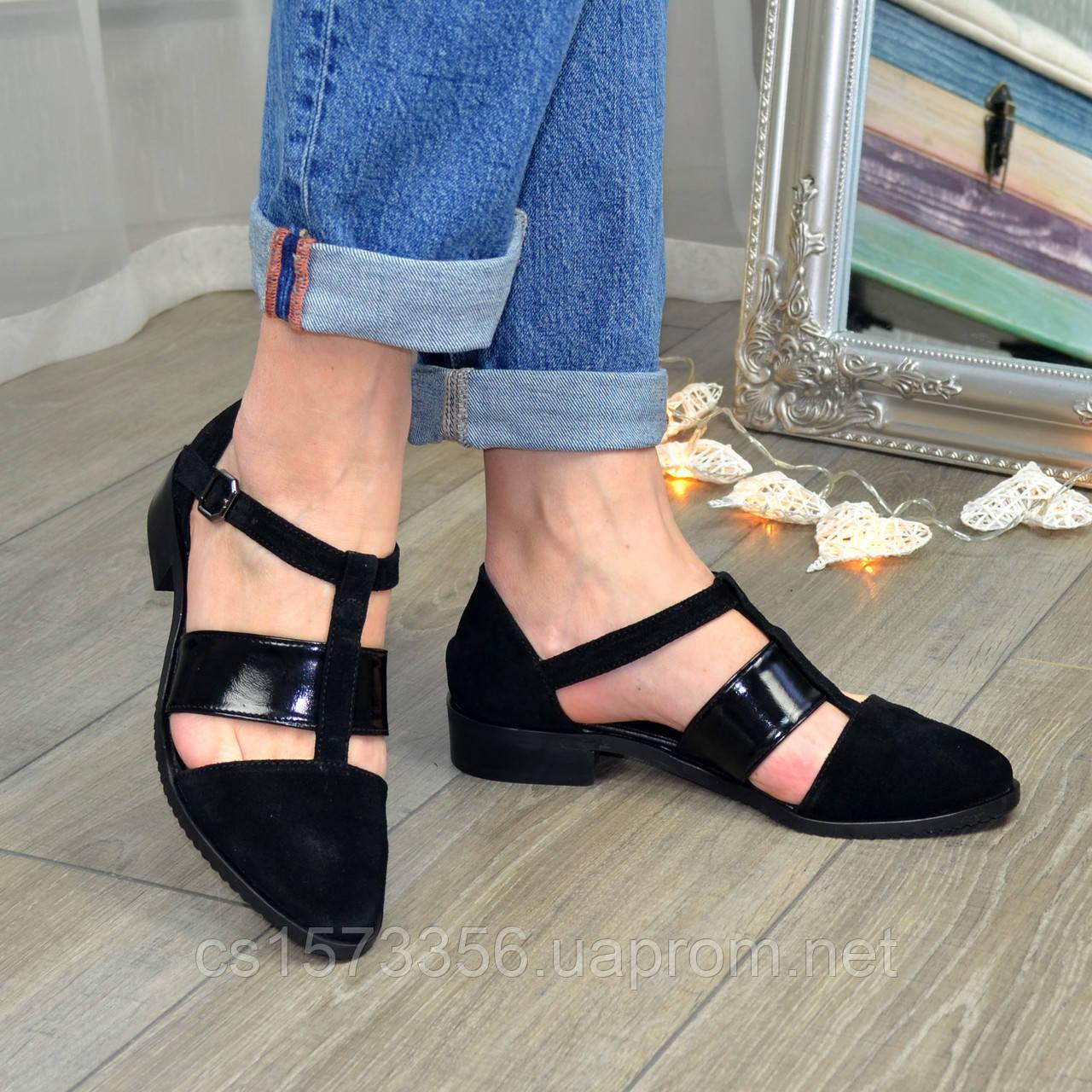 Туфли черные женские стильные на низком ходу, натуральная замша и лаковая кожа