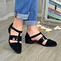 Туфли черные женские стильные на низком ходу, натуральная замша и лаковая кожа, фото 1