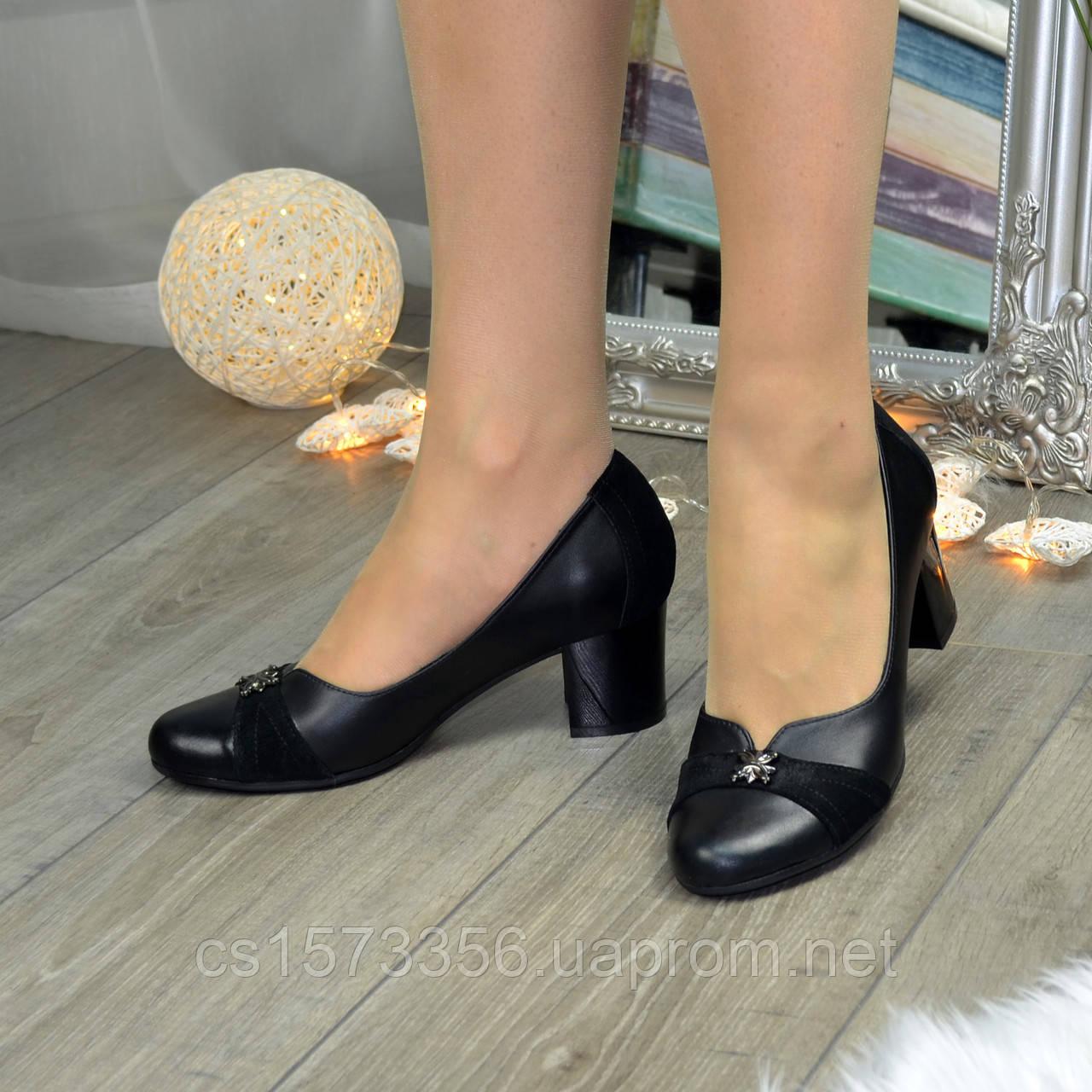 Туфли женские на невысоком устойчивом каблуке, натуральная кожа и замша