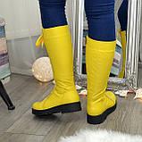 Стильные женские сапоги на шнуровке, натуральная кожа желтого цвета, фото 2
