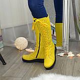 Стильные женские сапоги на шнуровке, натуральная кожа желтого цвета, фото 3