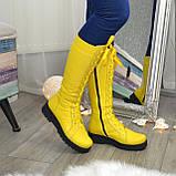 Стильные женские сапоги на шнуровке, натуральная кожа желтого цвета, фото 4