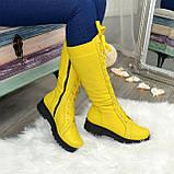 Стильные женские сапоги на шнуровке, натуральная кожа желтого цвета, фото 5