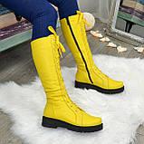 Стильные женские сапоги на шнуровке, натуральная кожа желтого цвета, фото 6