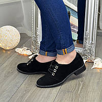Туфли женские замшевые на шнуровке, низкий ход. Цвет черный, фото 1
