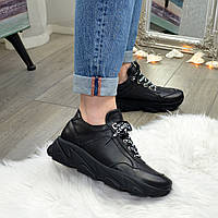 Кроссовки женские черные кожаные на шнуровке