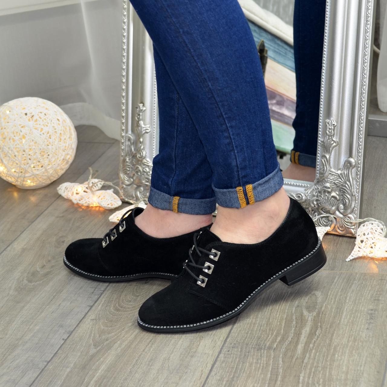 Туфли женские замшевые на шнуровке, низкий ход. Цвет черный