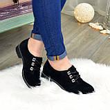 Туфли женские замшевые на шнуровке, низкий ход. Цвет черный, фото 2