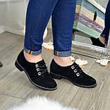 Туфли женские замшевые на шнуровке, низкий ход. Цвет черный, фото 3