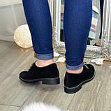 Туфли женские замшевые на шнуровке, низкий ход. Цвет черный, фото 4