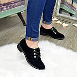 Туфли женские замшевые на шнуровке, низкий ход. Цвет черный, фото 5