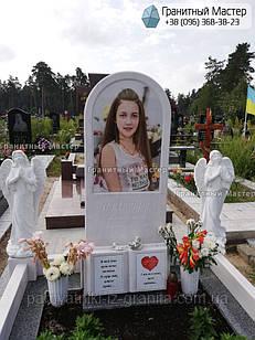 Детский памятник для девочки с книгой и двумя ангелочками