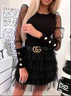 """Женская блузка с прозрачными рукавами и пуговицами """"Лозанна"""", фото 1"""
