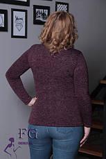 Теплый женский гольф из ангоры большой размер бордовый меланж, фото 3