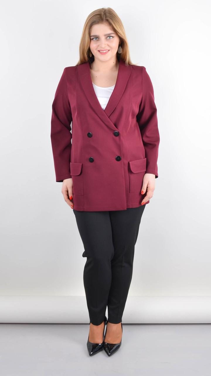 Пиджак женский для офиса plus size Дольче бордо 58-60,62-64