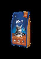 Сухой корм Brit Premium Adult Indoor для взрослых кошек с курицей 8 кг