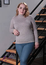 Базова жіноча зимова водолазка з ангори великий розмір сірий меланж, фото 2