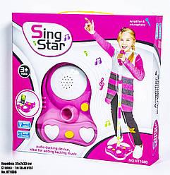 Детский микрофон розовый со стойкой SING STAR HT168B